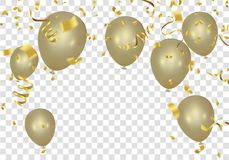 Gold balloons and confetti  party banner with and serpentine. Gold balloons and confetti party banner with and serpentine eps Stock Images