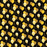 Gold balloons and confetti pattern on black. Gold balloons and confetti vector pattern on black background Stock Photo