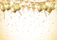 Gold balloons, confetti and streamers Royalty Free Stock Image