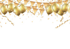 Gold balloons, confetti and streamers on white background Stock Photo