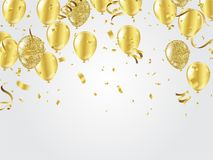 Gold balloons, confetti and streamers on white background. Vecto. R illustration Stock Photos