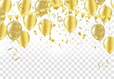 Gold balloons, confetti and streamers on white background. Vecto. R illustration Royalty Free Stock Photo