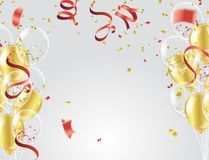 Gold balloons, confetti and streamers on white background. Vecto. R illustration Royalty Free Stock Images