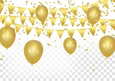 Gold balloons, confetti and streamers on white background. Vecto. R illustration Stock Photo