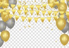 Gold balloons, confetti and streamers on white background. Vecto. R illustration Stock Photography
