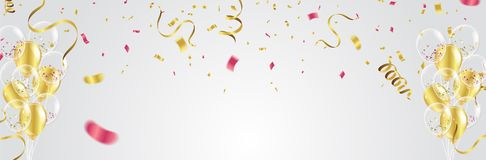 Gold balloons, confetti and streamers on white background. Vecto. R illustration Stock Images
