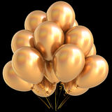 Gold balloons golden birthday party carnival decoration yellow. Glossy. Happy holiday anniversary celebrate new year`s eve xmas christmas greeting card design Stock Image