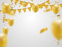 Gold balloons,  illustration. Confetti and flag ribbons,. Celebration background template with Stock Photos