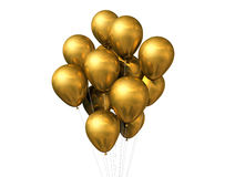 Gold balloons isolated on white Royalty Free Stock Photo