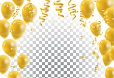 Gold balloons, white background. Vector illustration. Eps Royalty Free Stock Photos