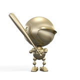 Gold ballplayer with bat Royalty Free Stock Images