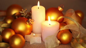 Gold Balls and Burning Candles. Seamless Loop stock video