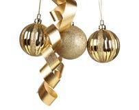 Gold balls and ribbons Stock Photo