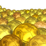 Gold balls soccer background Stock Photos