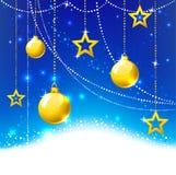 Gold balls and stars. Royalty Free Stock Photo