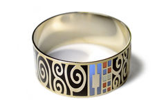 Gold bangle with pattern Stock Photography