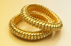 Gold bangles Royalty Free Stock Photography