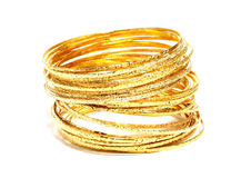 Gold bangles Stock Images