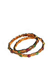 Gold bangles with green and pink rubies Stock Image