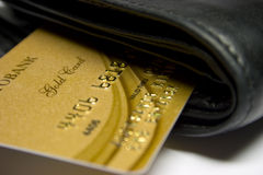 Gold bank card Stock Image