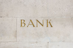 Gold bank sign Royalty Free Stock Photography