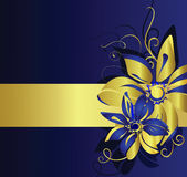 Gold banner with flowers. Vector illustration Stock Photography