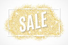 Gold banner with a frame and text for sale of gold glitters. Golden spot isolated on white background. Background for your project. Vector illustration. EPS 10 Royalty Free Stock Image