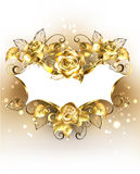 Gold banner with gold roses Stock Photos