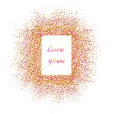 Gold banner. Gold sparkles on pink background. Banners logo, ca. Rd stock illustration