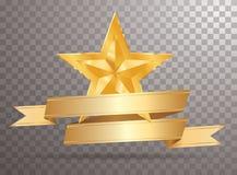 Gold banner golden star Stock Photo