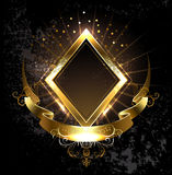 Gold banner rhombus Royalty Free Stock Image