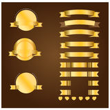 Gold banner and ribbon  Stock Photography