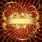 Gold banner with roses. Raster version of isolated vector gold banner with roses Royalty Free Stock Image