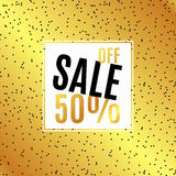 Gold Banner Sale, 50 discount. Banner Sale, 50 discount. With gold background. For advertising, business websites print Stock Image