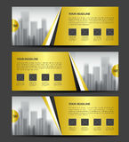 Gold Banner template vector, Horizontal header, advertising. Business flyer design, poster, ads Stock Photos