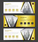 Gold Banner template vector, Horizontal header, advertising. Business flyer layout Stock Images