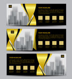 Gold Banner template vector, Horizontal header, advertising. Orange Banner template vector, Horizontal header, advertising, business flyer design, ada Royalty Free Stock Images