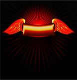 Gold banner with wings Stock Photo