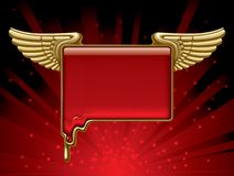 Gold banner with wings Stock Image