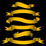 Gold banners. Illustration of gold flags on a black background Stock Photo