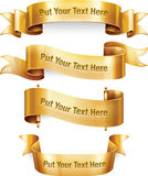 Gold banners. Four gold banners. Illustrator CS4 file with editable text included Vector Illustration