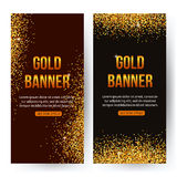 Gold banners with glitters and sparkles. Gold Stock Photos