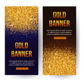 Gold banners with glitters and sparkles. Gold Stock Photo