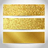 Gold banners trendy. Set of trendy gold vector banners template or website headers with abstract geometric background. Vector design for your golden banners stock image