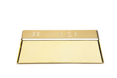 A gold bar. Isolated on white background Royalty Free Stock Images