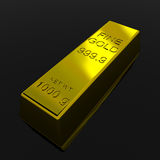 Gold Bar. On black glossy surface. 3D render image Stock Photography