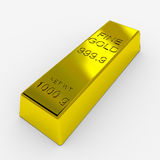 Gold Bar. Isolated on White. 3D render image Stock Photography