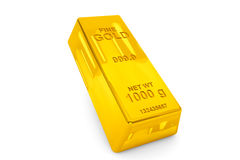 Gold bar. One Gold bar on a white background Stock Image