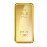 Gold bar. Realictick gold bar on the white background Stock Photo