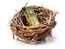 Gold bar in bird's nest royalty free stock photography